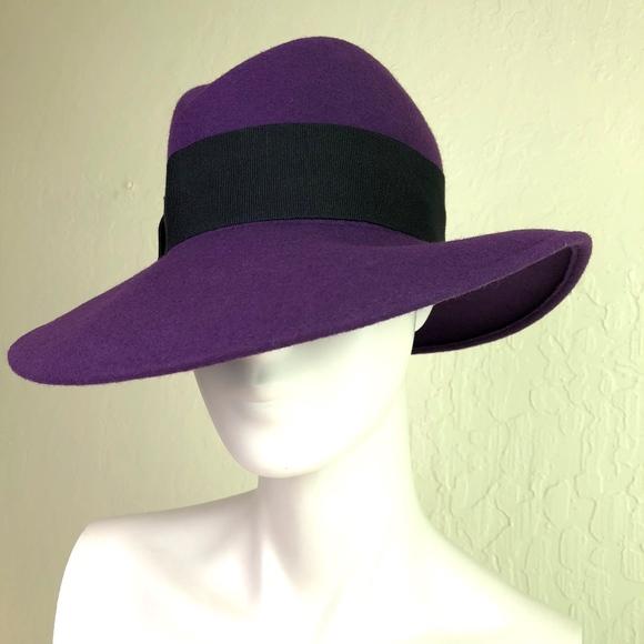 521818546f8 Bloomingdales Aqua Italy Purple Wool Fedora Hat OS